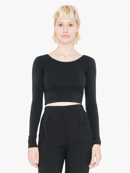 American Apparel AMA Top Crop Cot/Spandex LS For Her