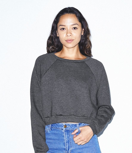 American Apparel Ladies Flex Fleece Cropped Pullover Sweatshirt