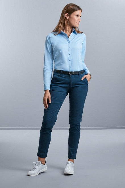Russell Ladies Longsleeve Tailored Herringbone Shirt